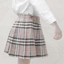 skirt 90cm,100cm,110cm,120cm,130cm,140cm,150cm,160cm Khaki grid Other / other female Cotton 100% No season skirt college lattice Pleats cotton Class A