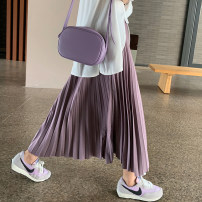 skirt Summer 2020 S,M,L Black, Khaki Brown, smoke purple Mid length dress commute High waist Pleated skirt Solid color Type A 18-24 years old 51% (inclusive) - 70% (inclusive) other Other / other other Pleats Korean version