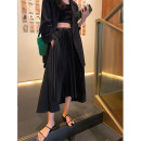 skirt Spring 2021 M, L black Mid length dress commute High waist Pleated skirt Solid color Type A 18-24 years old 51% (inclusive) - 70% (inclusive) other Other / other other Lace up, stitching, irregular Korean version