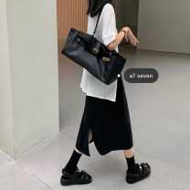 skirt Summer 2020 M, L Black, Beixing, pitaya Mid length dress commute High waist A-line skirt Solid color Type A 18-24 years old 91% (inclusive) - 95% (inclusive) other Other / other polyester fiber Korean version