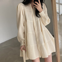 Dress Spring 2021 Apricot, black Average size Short skirt singleton  Long sleeves commute Polo collar Loose waist Solid color double-breasted A-line skirt puff sleeve Others 18-24 years old Type A Retro 31% (inclusive) - 50% (inclusive) other other