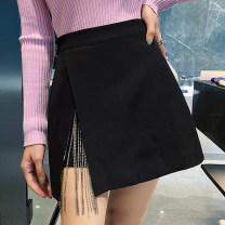 skirt Winter 2020 S,M,L black Short skirt Versatile Natural waist Splicing style Solid color 25-29 years old 31% (inclusive) - 50% (inclusive) other