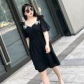 Women's large Summer 2021 black Dress singleton  commute Self cultivation thin Socket Short sleeve Korean version V-neck routine polyester other Rama Uprising Nail bead Middle-skirt