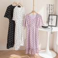 Dress Spring 2021 White, purple, black S,M,L,XL Mid length dress singleton  Short sleeve Sweet V-neck L8217 More than 95% silk