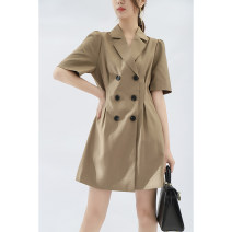 Dress Spring 2021 Khaki, black M, L Middle-skirt singleton  Short sleeve commute tailored collar L8325 71% (inclusive) - 80% (inclusive) polyester fiber