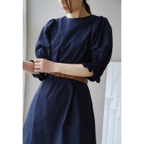 Dress Spring 2021 Pink, Navy XS,S,M Mid length dress singleton  elbow sleeve Type A L8260 More than 95% cotton
