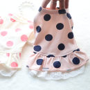 Pet clothing / raincoat currency Dress S. Suggest 3 jin, m, 6 Jin, l, 8 Jin, XL, 10 jin, XXL, please refer to the chest size for details GEJAVITAE leisure time White + pink dots, pink + Navy dots cotton