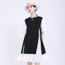 Dress Summer 2020 Black and white Average size Mid length dress Fake two pieces Short sleeve commute Crew neck middle-waisted Solid color Socket Big swing Lotus leaf sleeve Others 25-29 years old Type A Other / other Korean version Splicing 51% (inclusive) - 70% (inclusive) other cotton