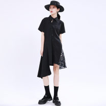 Dress Summer 2020 black S,M,L Mid length dress singleton  Short sleeve street Polo collar middle-waisted Solid color Single breasted Irregular skirt routine Others 18-24 years old Type A Other / other Splicing, asymmetric 51% (inclusive) - 70% (inclusive) other cotton Europe and America