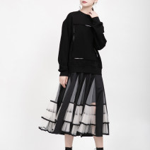 skirt Autumn of 2019 Average size black Mid length dress street Natural waist Pleated skirt Solid color Type A 25-29 years old 51% (inclusive) - 70% (inclusive) other Other / other cotton Splicing Europe and America