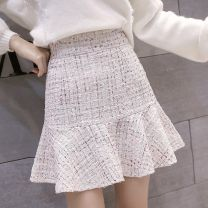 skirt Spring 2021 S,M,L,XL White, black Short skirt Versatile High waist Ruffle Skirt Solid color Type A 18-24 years old Y-5 81% (inclusive) - 90% (inclusive) Wool other Ruffles, stitching