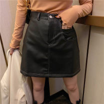 skirt Spring 2021 S,M,L,XL Black, Mocha Brown Short skirt commute High waist A-line skirt Solid color Type A 25-29 years old DQ122 # 51% (inclusive) - 70% (inclusive) other polyester fiber zipper Korean version