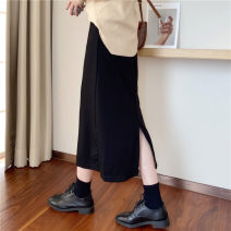 skirt Spring 2021 Average size Black, apricot, khaki, dark grey Mid length dress commute High waist A-line skirt Solid color Type A 18-24 years old QZ111# 51% (inclusive) - 70% (inclusive) polyester fiber Split Korean version 161g / m ^ 2 (including) - 180g / m ^ 2 (including)
