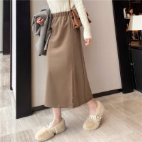 skirt Spring 2021 M, L Black, apricot, khaki, grayish blue Mid length dress commute High waist A-line skirt Solid color Type A 18-24 years old DQ187# 51% (inclusive) - 70% (inclusive) other polyester fiber Korean version
