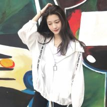 short coat Summer of 2018 S M L XL 2XL White, black, light green, pink. Long sleeve conventional Thin section Single Loose Bat sleeve Commuting Hooded zipper letter Other / other pocket
