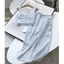 Fashion suit Autumn 2020 XS,S,M,L Blue top, blue skirt 18-25 years old TRADE KING DGN009070 30% and below
