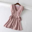 Dress Summer of 2018 Pink S M L Mid length dress singleton  Solid color Socket Other / other DMQ806142