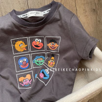 T-shirt grey Other / other 80cm,90cm,100cm,110cm,120cm,130cm neutral summer Short sleeve Crew neck Korean version No model nothing cotton Cartoon characters Cotton 80% other 20% Class B other Chinese Mainland