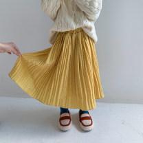 skirt 90, 100 (model), 110, 120, 130, 140, 150 yellow PPJTZ female Other 100% spring and autumn skirt Korean version Dot Pleats Chiffon other