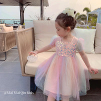 Dress rainbow female Maimaiqiu 80, 90, 100, model, 110, 120, 130, 140, 150 Other 100% summer princess Short sleeve Solid color other Splicing style XB3232 Class B 2, 3, 4, 5, 6, 7, 8, 9, 10 years old Chinese Mainland Guangdong Province Dongguan City