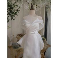 Wedding dress Spring 2021 white S. M, l, XL, XXL, customized, no return, contact customer service Fish tail Bandage Hotel Interior Deep collar V satin Three dimensional cutting LVS0512151 18-25 years old