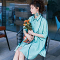Dress Summer of 2019 green L,M,S Mid length dress singleton  elbow sleeve commute Polo collar Loose waist Solid color Single breasted A-line skirt raglan sleeve Others 25-29 years old Type H Other / other Simplicity Button F196 71% (inclusive) - 80% (inclusive) other cotton