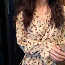 Dress Summer 2020 M,L,XL,2XL Miniskirt singleton  V-neck High waist Broken flowers Socket Irregular skirt Others Splicing 71% (inclusive) - 80% (inclusive) other other