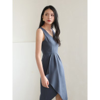 Dress Summer 2020 Black, grey, grey blue S,M,L,XL Middle-skirt singleton  Sleeveless commute V-neck High waist Solid color Ol style D706 91% (inclusive) - 95% (inclusive) polyester fiber