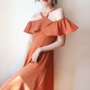 Dress Autumn 2020 Orange, pink S,M,L longuette singleton  Sleeveless commute One word collar High waist Solid color Socket A-line skirt camisole 25-29 years old Type A Lotus leaf edge D768 polyester fiber