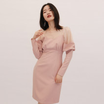 Dress Autumn 2020 Pink S,M,L longuette singleton  Long sleeves commute V-neck High waist Solid color zipper One pace skirt routine 25-29 years old Type X zipper polyester fiber