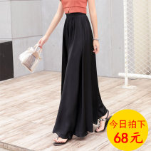 Casual pants M,L,XL Summer 2020 trousers Wide leg pants High waist commute Thin money 96% and above polyester fiber Korean version polyester fiber