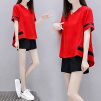 Women's large Summer 2020 White (jacket + shorts), red (jacket + shorts), black (jacket + shorts), [if you buy more than 2 pieces, you can give priority to delivery] Two piece set Socket Short sleeve Solid color V-neck polyester fiber routine 18-24 years old pocket 81% (inclusive) - 90% (inclusive)