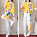 Women's large Summer 2020, spring 2020 Yellow top + white pants M (recommended 70-95 kg), l (recommended 95-115 kg), XL (recommended 115-128 kg), XXL (recommended 125-140 kg), 3XL (recommended 135-155 kg), 4XL (recommended 150-180 kg) trousers Two piece set commute easy moderate Socket Short sleeve