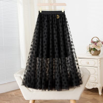 skirt Summer 2021 S,M,L black Mid length dress street High waist A-line skirt Solid color Type A More than 95% polyester fiber Flocking, three-dimensional decoration, yarn net Europe and America