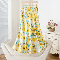 skirt Summer 2021 S,M,L,XL White, yellow Mid length dress street High waist A-line skirt Decor Type A Cellulose acetate Zipper, print Europe and America