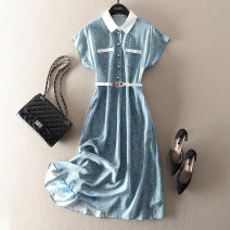 Dress Summer 2021 sky blue S,M,L,XL Mid length dress singleton  Short sleeve street Polo collar High waist Decor Single breasted A-line skirt routine Type X BYREL Lace up, stitching, buttons, print More than 95% Crepe de Chine silk Europe and America