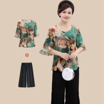 Middle aged and old women's wear Summer of 2018 fashion Loose 40-49 years old T-shirt Single Color thin Sleeve Round neck Flying sleeve Yi Shibao Polyester 100% conventional Short sleeve