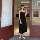 Dress Summer 2021 black One, two, three, four, five, six longuette singleton  Sleeveless commute V-neck Loose waist Solid color Socket A-line skirt routine camisole Type A Korean version Splice, split 51% (inclusive) - 70% (inclusive) polyester fiber