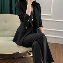 Women's large Spring 2021, autumn 2021 black M [90-100 Jin], l [100-115 Jin], XL [115-130 Jin], XXL [130-150 Jin], 3x [150-170 Jin], 4x [170-190 Jin], 5x [190-210 Jin] suit Two piece set commute Self cultivation moderate Cardigan Long sleeves Solid color Korean version other routine Polyester, cotton