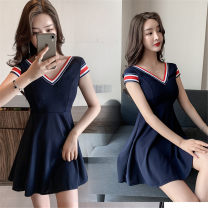 Dress Spring 2021 Navy Blue S,M,L,XL Short skirt Short sleeve commute V-neck High waist Solid color Socket Big swing camisole 25-29 years old Type A 30% and below brocade cotton
