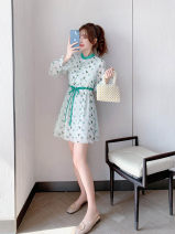 Dress Spring 2021 green S,M,L,XL Mid length dress singleton  Long sleeves commute stand collar High waist other Socket A-line skirt Petal sleeve Others 25-29 years old Type A Korean version Stitching, strapping, buttons More than 95% other other
