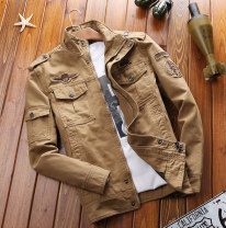 Jacket Other / other Fashion City thin easy Other leisure autumn Cotton 100% Long sleeves Wear out stand collar Military brigade of tooling youth routine Zipper placket 2021 Cloth hem washing Loose cuff Solid color Denim More than two bags) Side seam pocket cotton 90% (inclusive) - 95% (inclusive)