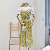 Dress Summer 2020 Yellow, purple Average size Mid length dress singleton  Sleeveless commute High waist Decor other camisole 31% (inclusive) - 50% (inclusive)