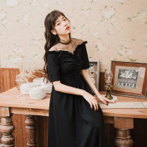Dress Spring 2021 black L,M,S Mid length dress singleton  elbow sleeve commute V-neck High waist Solid color zipper A-line skirt routine Type X Retro Auricularia auricula, splicing, gauze net 81% (inclusive) - 90% (inclusive)