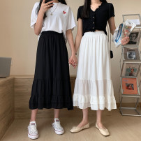 skirt Summer 2021 Average size White, black Mid length dress commute High waist A-line skirt Type A 18-24 years old Other / other Korean version