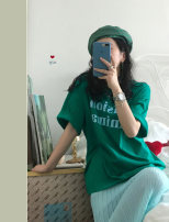 T-shirt Green T-shirt, pleated skirt Average size Summer 2021 Short sleeve Crew neck easy Medium length routine commute cotton 96% and above 18-24 years old Korean version letter Other / other 2801#