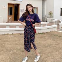 skirt Spring 2021 S. M, average size longuette commute High waist A-line skirt lattice Type A 18-24 years old Other / other polyester fiber zipper Korean version
