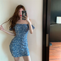 Dress Summer 2021 Blue floral skirt S, M Short skirt singleton  Short sleeve Sweet One word collar High waist Decor Socket A-line skirt Flying sleeve Others 18-24 years old Type A Other / other Open back, fold 81% (inclusive) - 90% (inclusive) other polyester fiber