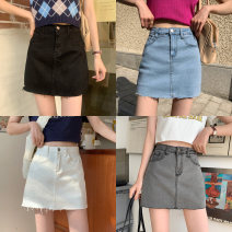 skirt Summer 2021 S,M,L,XL White, blue, black, black grey Short skirt commute High waist A-line skirt other Type A 18-24 years old 71% (inclusive) - 80% (inclusive) Denim Other / other nylon Button Korean version