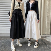 skirt Summer 2021 S,M,L,XL White, black Mid length dress commute High waist A-line skirt Solid color Type A 18-24 years old 51% (inclusive) - 70% (inclusive) other Other / other cotton Korean version
